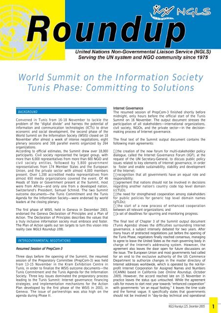 World Summit on the Information Society Tunis Phase ... - NGLS