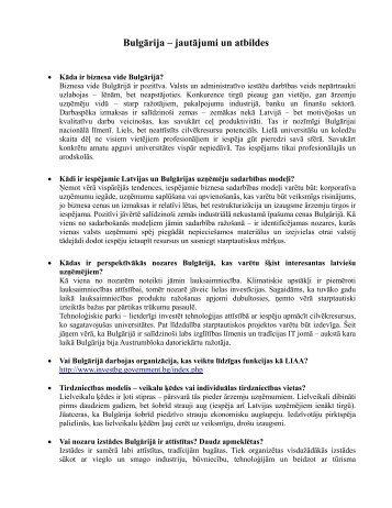 Bulgārija – jautājumi un atbildes - LIAA