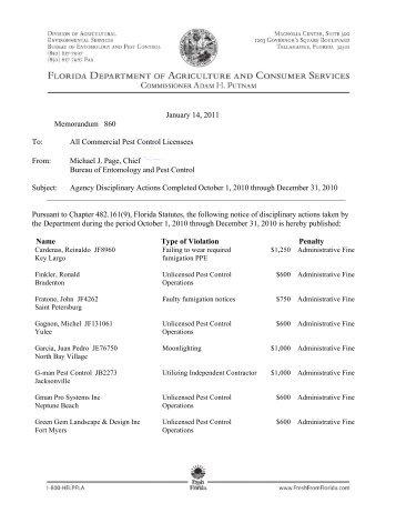 Memo860-Agency Disciplinary Actions-Oct-Dec 2010