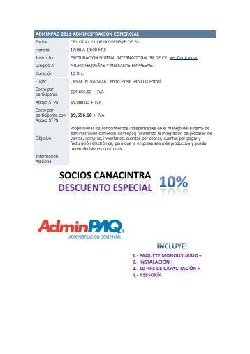ADMINPAQ 2011 ADMINISTRACIÓN COMERCIAL Fecha DEL 07 ...
