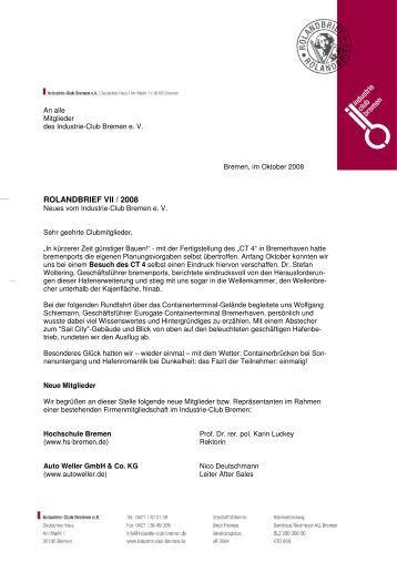 Rolandbrief VII/2008 - Industrie-Club-Bremen