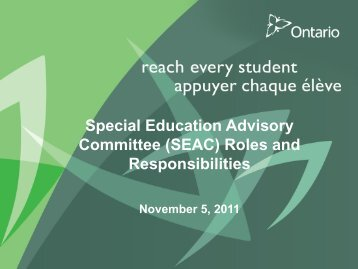 (SEAC) Roles and Responsibilities - Learning Disabilities ...