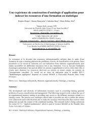 Une expérience de construction d'ontologie d'application pour ...