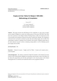 Supply and Use Tables for Belgium 1995-2002: Methodology of ...