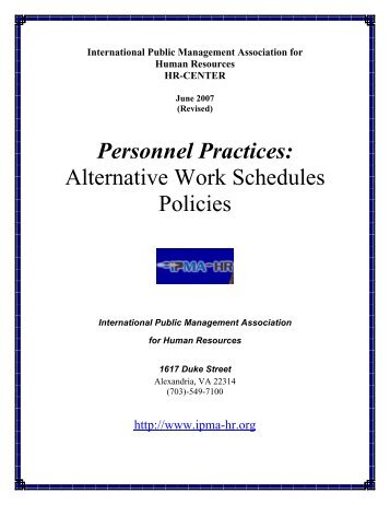 Alternative Work Schedules Policies - International Personnel ...