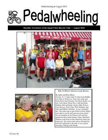 Pedalwheeling August 2010 Monthly Newsletter of the Quad Cities ...