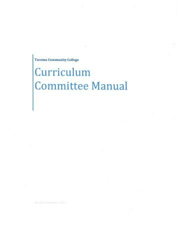 Curriculum Committee Manual - Tacoma Community College