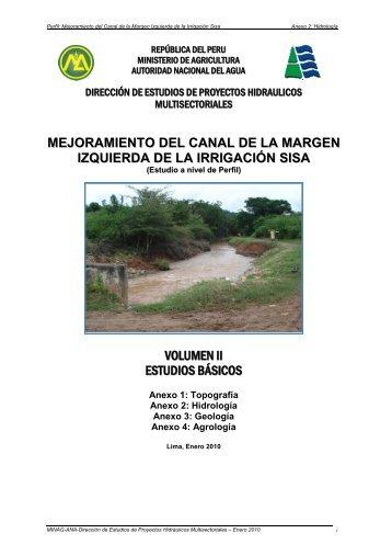 Mejoramiento del canal de la margen izquierda de la irrigación Sisa