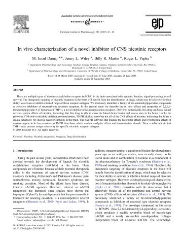 In vivo characterization of a novel inhibitor of CNS nicotinic receptors