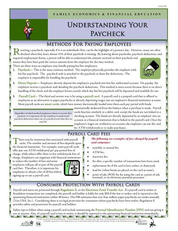 Understanding Your Paycheck Information Sheet