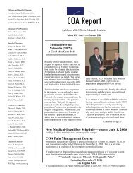 COA Report Summer 2006.pub - California Orthopaedic Association