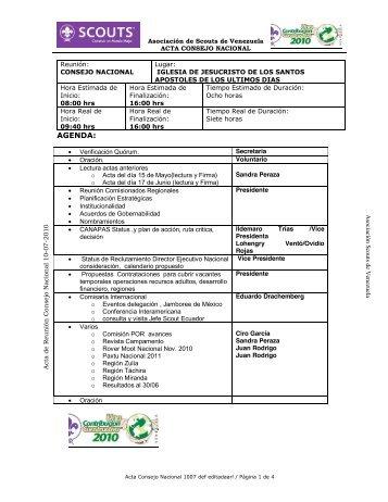 Acta Consejo Nacional Scout - Julio 2010 - Asociación de Scouts de ...