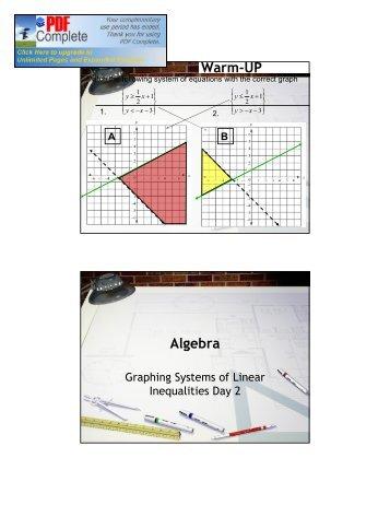 Warm-UP Algebra - Teacherpage