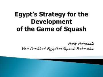 Egyptian Player Development Programme - World Squash Federation