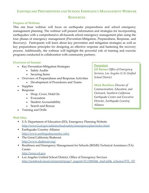 Resources - Readiness and Emergency Management for Schools ...