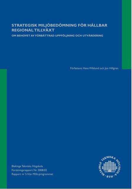 strategisk miljöbedömning för hàllbar regional ... - MiSt-programmet