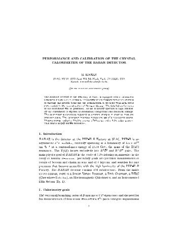 PERFORMANCE AND CALIBRATION OF THE CRYSTAL ...