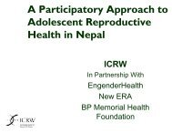 A Participatory Approach to Adolescent Reproductive Health in Nepal