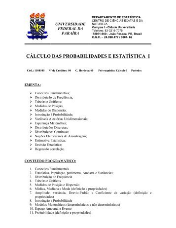 Ementa do curso - Departamento de Estatística - Universidade ...