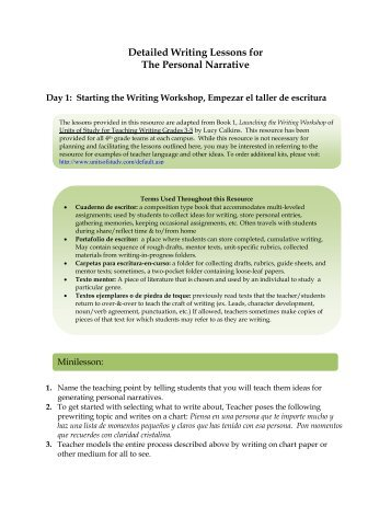 Detailed Writing Lessons for The Personal Narrative