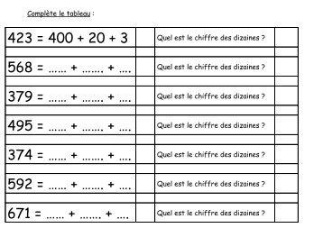 trouver les dizaines des nombres à 3 chiffres format pdf