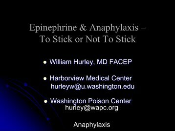 Epinephrine & Anaphylaxis – To Stick or Not To Stick