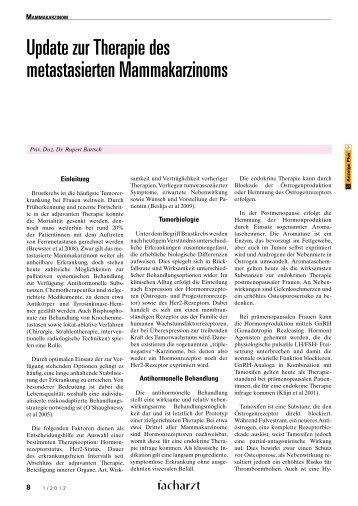 Update zur Therapie des metastasierten Mammakarzinoms
