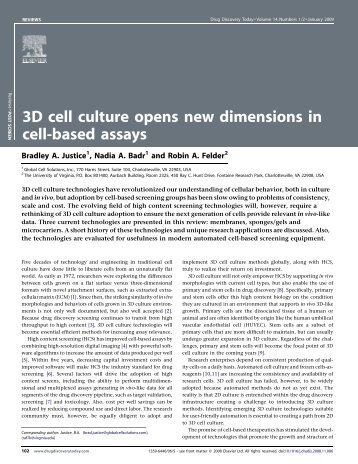 3D cell culture opens new dimensions in cell-based assays