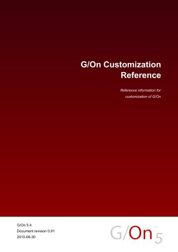 G/On Customization Reference - Giritech