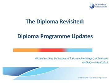 The Diploma Revisited: Diploma Programme Updates - AACRAO