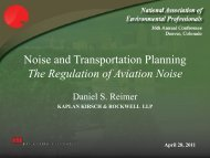 Noise and Transportation Planning The Regulation of Aviation Noise