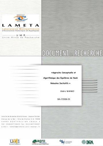 Approche Conceptuelle et Algorithmique des Equilibres de ... - Lameta