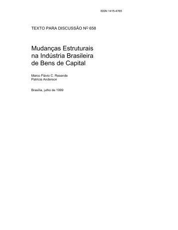 Mudanças Estruturais na Indústria Brasileira de Bens ... - Livros Grátis