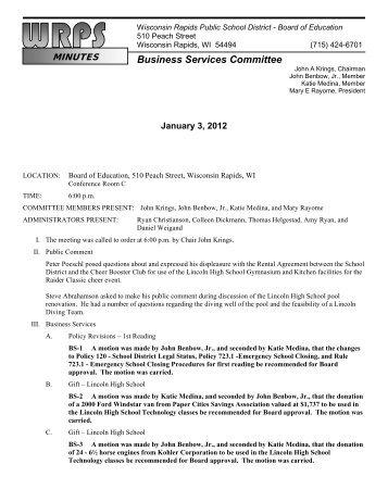 Minutes for 1-3-12 - Wisconsin Rapids Public Schools