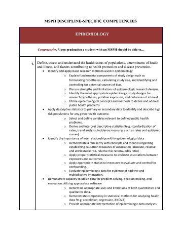 MSPH DISCIPLINE-SPECIFIC COMPETENCIES EPIDEMIOLOGY