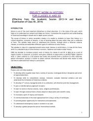 PROJECT WORK IN HISTORY FOR CLASSES XI AND XII - CBSE