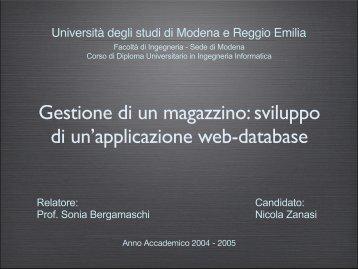 Gestione di un magazzino - DBGroup - Università degli studi di ...