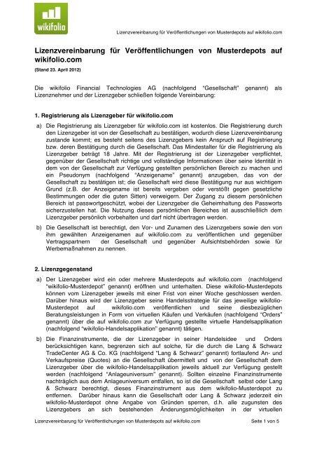 Publizierungs Und Nutzungsvertrag Wikifolio