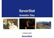 Presentation for the Investor Day (London). February 2007 - Severstal