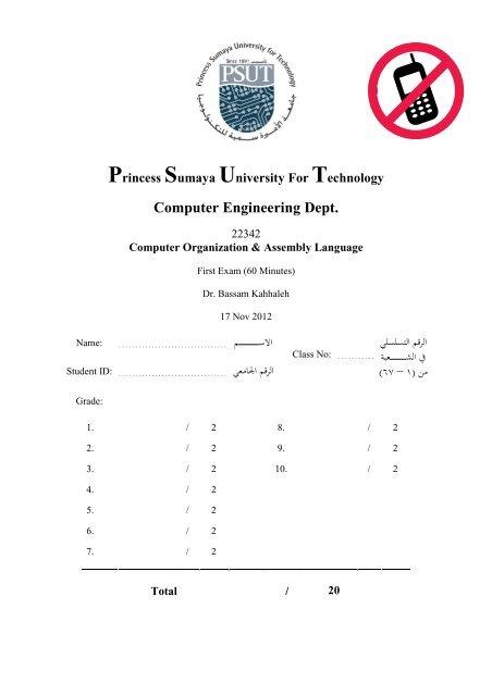 Computer Organization & Assembly Language Exam 1 - Princess