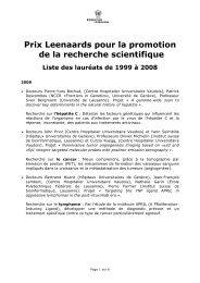 Prix Leenaards pour la promotion de la recherche scientifique Liste ...