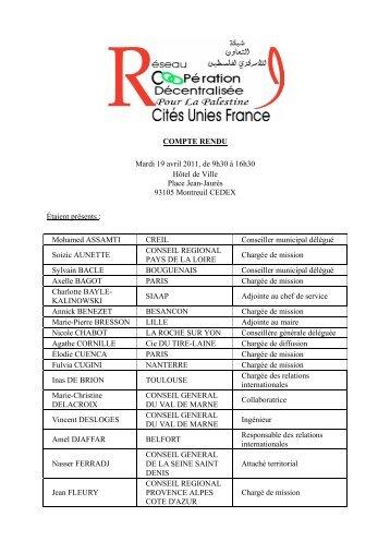 Réunion du RCDP, le 19 avril 2011, à Montreuil - Cités Unies France