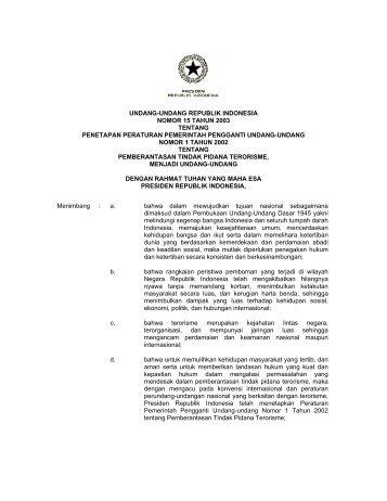 undang-undang republik indonesia nomor 15 tahun 2003 - KontraS