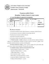 Programa analitică Master Disciplina: Tradiţie şi înnoire în viaţa ...