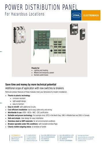 POWER DISTRIBUTION PANEL - Stahl.be