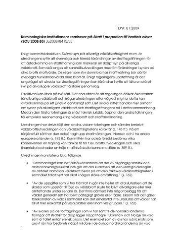 Remissvar på SOU 2008:85 - Kriminologiska institutionen