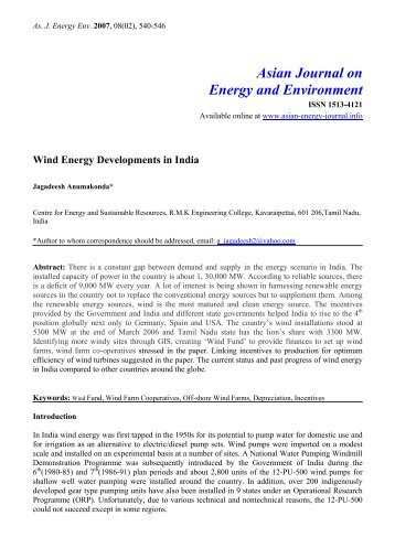 Wind energy developments in india - Asian Journal on Energy ...