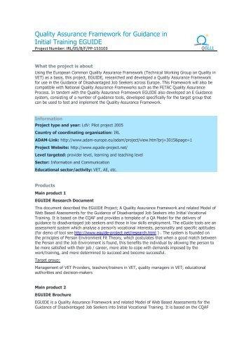 Quality Assurance Framework for Guidance in Initial ... - QALLL