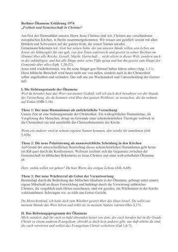 Die Berliner Ökumene Erklärung