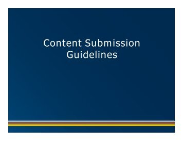 Content Submission Content Submission Guidelines - California ...